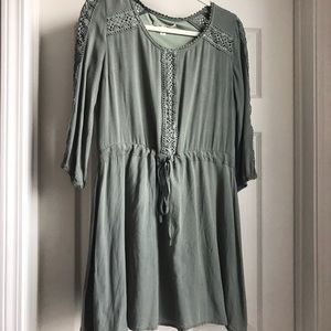 army green 3/4 length sleeves dress